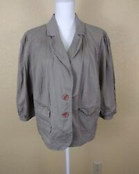 Cato Womens Jacket Sz 22 24W Beige Cropped Cotton Stretch 34 Sleeves Button 3X $12.22