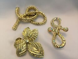 LOT OF 3 GOLD TONE PINS $3.99