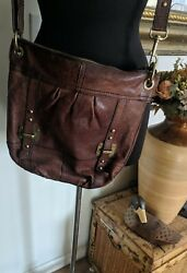 FOSSIL LONG LIVE VINTAGE BROWN GENUINE LEATHER CROSSBODY MEDIUM BAG... $39.50