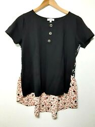 Umgee Black Short Sleeve High Low Top Blouse Shirt WFloral Print Back Size M $14.00