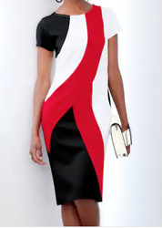 Ashro Red White Black Formal Stalone Curved Slimming Color block Dress S M L XL