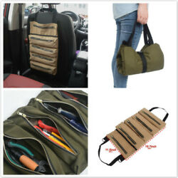 Durable Roll Up Canvas Fabric Tool Bag Hanging Organizer Wrench Storage Pouch G $16.88