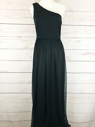 Trina Turk Women Size 8 Long One Shoulders Black Dress Prom Formal Empire Gown $58.00