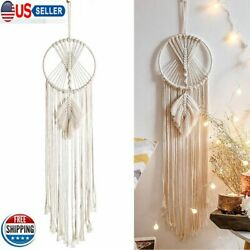 Macrame Dream Catcher Wall Hanging with Feather Leaf Bedroom Baby Nursery Decor $11.29