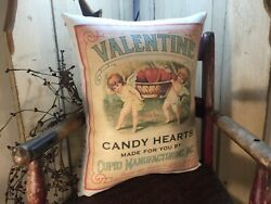 SWEET PRIMITIVE VICTORIAN ANTIQUE VINTAGE STYLE VALENTINE CUPID HEART RED PILLOW $19.95