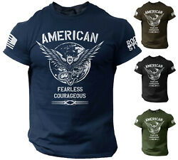 American Men's T Shirt Fearless Courageous USA Warrior Tee Rogue Style $13.90