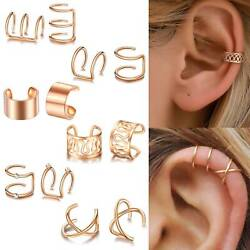 12PCS Ear Clip Cuff Wrap Fake Earring Stud Hoop Non Piercing Cartilage Helix Set $7.73