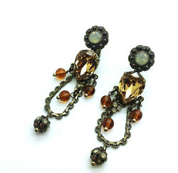 Mariana Earrings Brown Chandelier Swarovski Crystals Romance Dancing The Nigh... $235.00