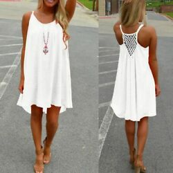 Women Summer Slip Dress Beach Wear Bikini Cover Up Boho Swimwear Ladies Swing US $8.89