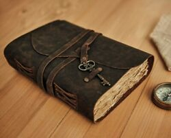 Vintage Leather Journal Rustic Leather Bound Journal Notebook Deckle Edge Paper $37.00