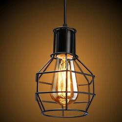 E2627 Vintage Industrial LED Metal Wire Cage Ceiling Pendant Lamp Shade Frame $9.72
