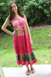 Boho Gypsy Hippy Pink Tie Dye Loose Dress Rayon Summer Beach Cover Up Dresses SM $27.87