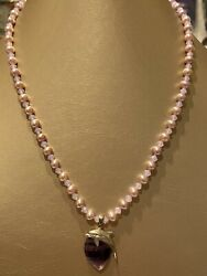 925 STERLING SILVER CLASP+DOLPHIN PENDANT PINK GLASS BEADED NECKLACE $3.90
