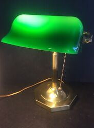 Vintage BANKERS LAMP Brass w Green Shade Pull Chain Desk Lamp 12quot; Tall Piano $49.99