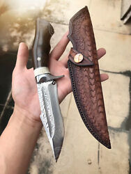 JAPANESE DAMASCUS VG10 HUNTING KNIFE FIXED BLADE RESCUE BOWIE KNIFE FULL TANG $148.00