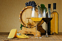 Framed Print Red Wine White wine amp; Cheese Picture Poster Kitchen Artwork Art $11.06