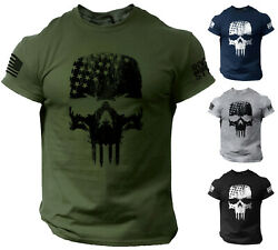 Skull T-Shirt USA Warrior Flag Distressed Military $13.90