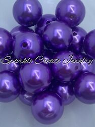 Purple Pearl Chunky Bubblegum Beads 20mm