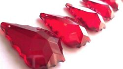 5 Red French Cut 50mm Chandelier Crystals $14.99