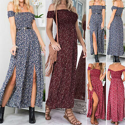 Women Boho Off The Shoulder Maxi Dress Summer Long Split Holiday Party Cocktail $17.66