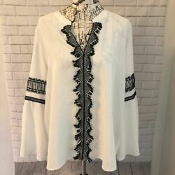 Market & Spruce embroidered blouse shirt bell sleeve plus size 2x XXL $34.99
