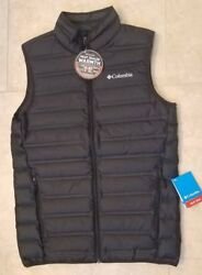 New Columbia Sportswear Men Lake 22 Down Vest Lightweight Black 1737871 Small $58.99
