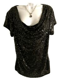 INC INTERNATIONAL CONCEPTS WOMEN'S BLACK SEQUINED FRONT SZ L NEW CONDITION