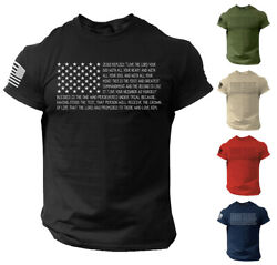 Bible T Shirt Men#x27;s USA Flag American Christian Bible Verse Gift Shirt $13.90