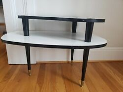 VTG White Black Mid Century Modern Step End 2 Tier Table Formica Laminate Atomic $129.97