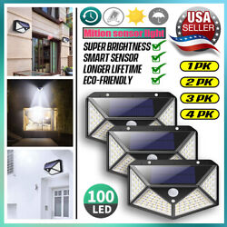 Outdoor 100 LED Solar Wall Lights Security Motion Garden Yard Path Flood Lamp