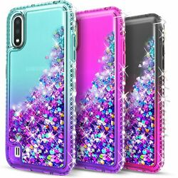 For Samsung Galaxy A01 Case Glitter Bling Phone Cover Tempered Glass Protector $9.99