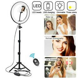 LED 10 Inch Ring Light with Tripod Stand Photo Video Tik Tok Bluetooth Remote $30.99