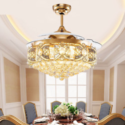 Luxury Crystal Chandelier 42quot; Invisible Ceiling Fan Light W 3 Color LED Remote $199.79