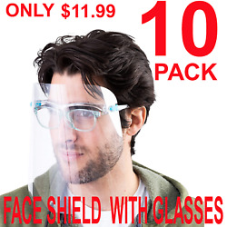 10 PACK Face Shield Guard Mask Safety Protection With Glasses Reusable Anti Fog $11.99