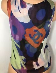 Chanel Floral Logo Print Semi Sheer Silk Blouse WLogo Buttons SZ 42 Small EUC