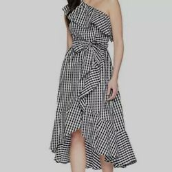 New Adrianna Papell One Shoulder Gingham Casual Party Plus Size Dress 14W $44.00