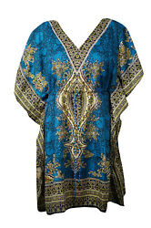 Boho Chic BLUE Printed Dress Cruise Caftan Loose Beach Cover up Dresses 3XL $16.84