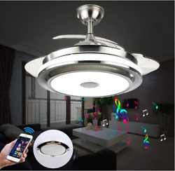 36quot; 42quot; Bluetooth Invisible Ceiling Fan Light Music Player LED Chandelierremote $168.82