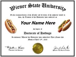 *HOT DOG DIPLOMA* Fun For the Wiener Fan Frankfurter Eating Contest $9.99