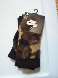 Nike Camouflage High Crew Socks Athletic SB Skate Board 2 Pr Pkg Fits Shoe 3Y 5Y