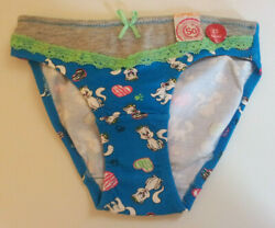 Girls Bikini Panties Size XS S Cats Hearts Paws Multi Color Cotton Spandex NWT $3.99