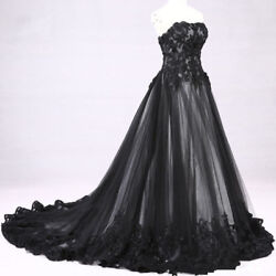 Black Lace applique Victorian Gothic Wedding Dress Bridal Gown Custom Size 2 26w