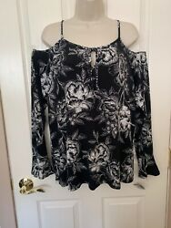 INC International Concepts cold shoulder black & white floral print top size L