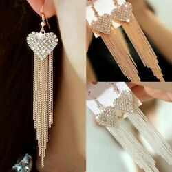 Beautiful Love Heart Party Long Tassels Rhinestone Hook Dangle Linear Earrings $14.95