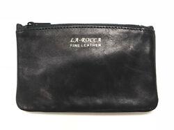LaRocca Black Leather Lightweight Zip Top Pipe Tobacco Daily Tobacco Pouch $10.95