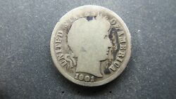 1901-s Barber Dime 10 Cents Silver Coin