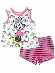 Disney Minnie Mouse Girls#x27; High Low Tank Top amp; French Terry Shorts Set $11.99