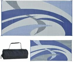 Outdoor Patio Deck RV Mat Reversible Rug 9 x 18 ft Durable Foldable Blue Swirls $89.99
