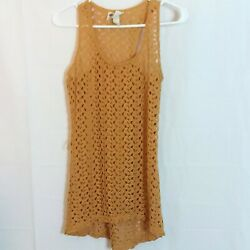 Pretty Rebellious Top Size S Womens Gold Open Crochet Hi-Lo Racer Back Cover Up $14.24
