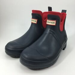 Hunter by Target Womens Blue Red Rubber Ankle Rain Boots Shoes sz 7 $39.99